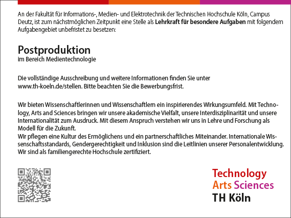 Stellenangebot_Postproduktion_TH-Koeln