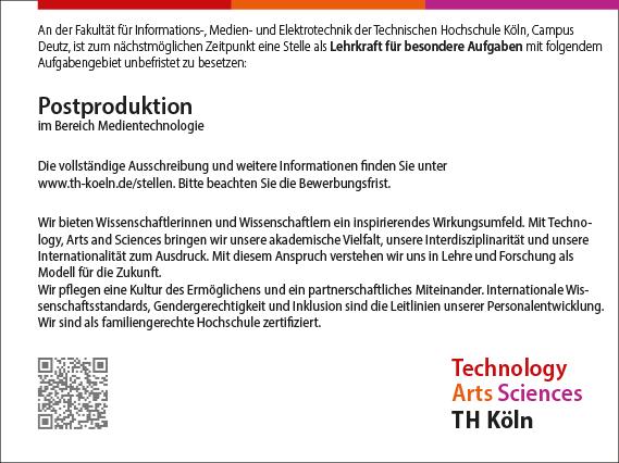 Stellenangebot_Postproduktion_TH-Koeln