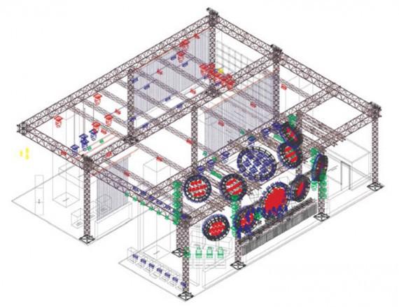 Gittermodell des Messestandes von SGM auf der Prolight + Sound.