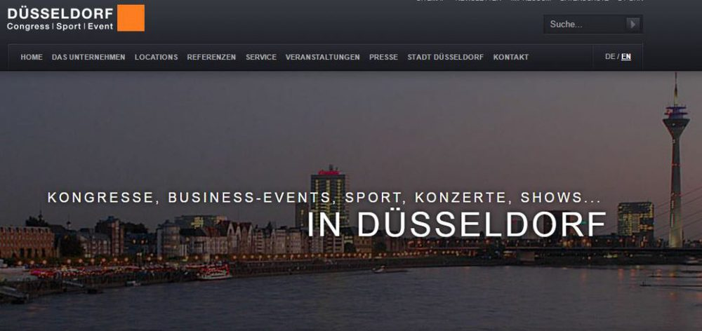 Screenshot der Düsseldorf Congress Website