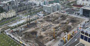 Aktueller Stand der Bauarbeiten an der neuen Halle 12 der Messe Frankfurt Anfang Juni 2016