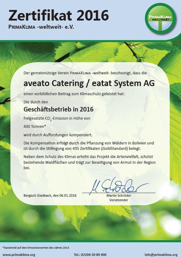 Zertifikat für Aveato: Klimaneutrales Catering