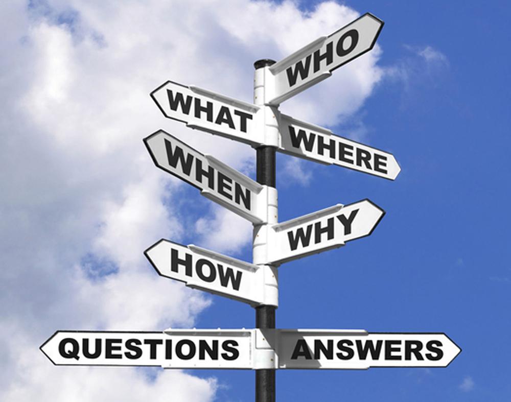 Wegweiser mit Fragen auf Englisch