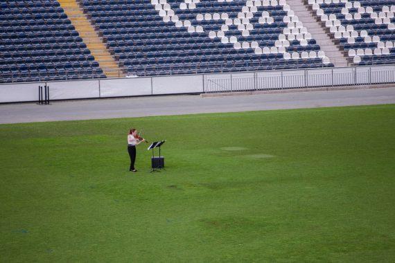 Musiker im Stadion