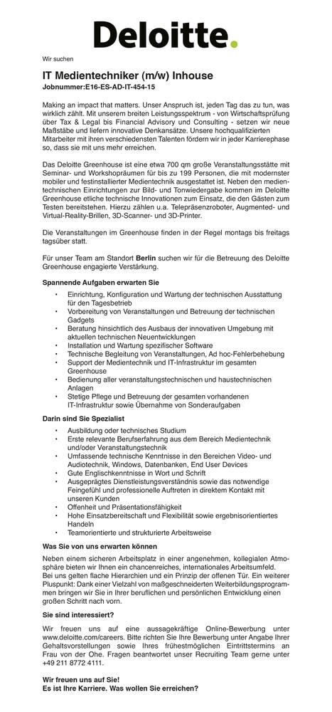 Stellenanzeige Deloitte IT Medientechniker
