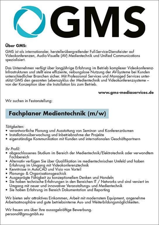 Stellenanzeige GMS Fachplaner Medientechnik