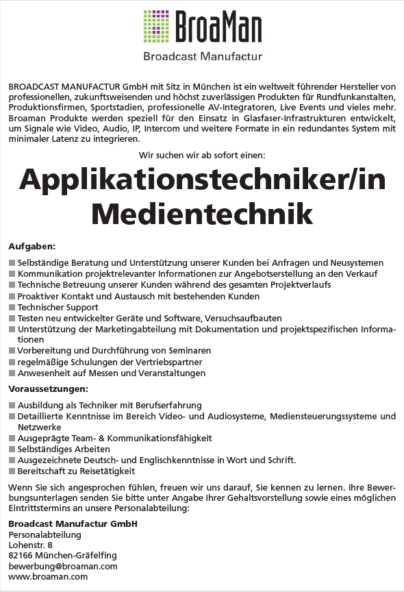 applikationstechniker_mediantechnik_broaman