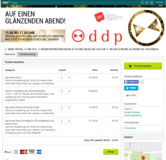 Screenshot Xing: Deutscher Dialogmarketing Verband