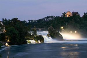 The Rhine waterfalls at Neuhausen on Switzerland by night