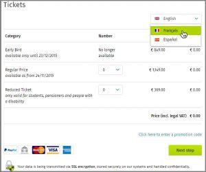 Xing Events Multilingual Ticketshop
