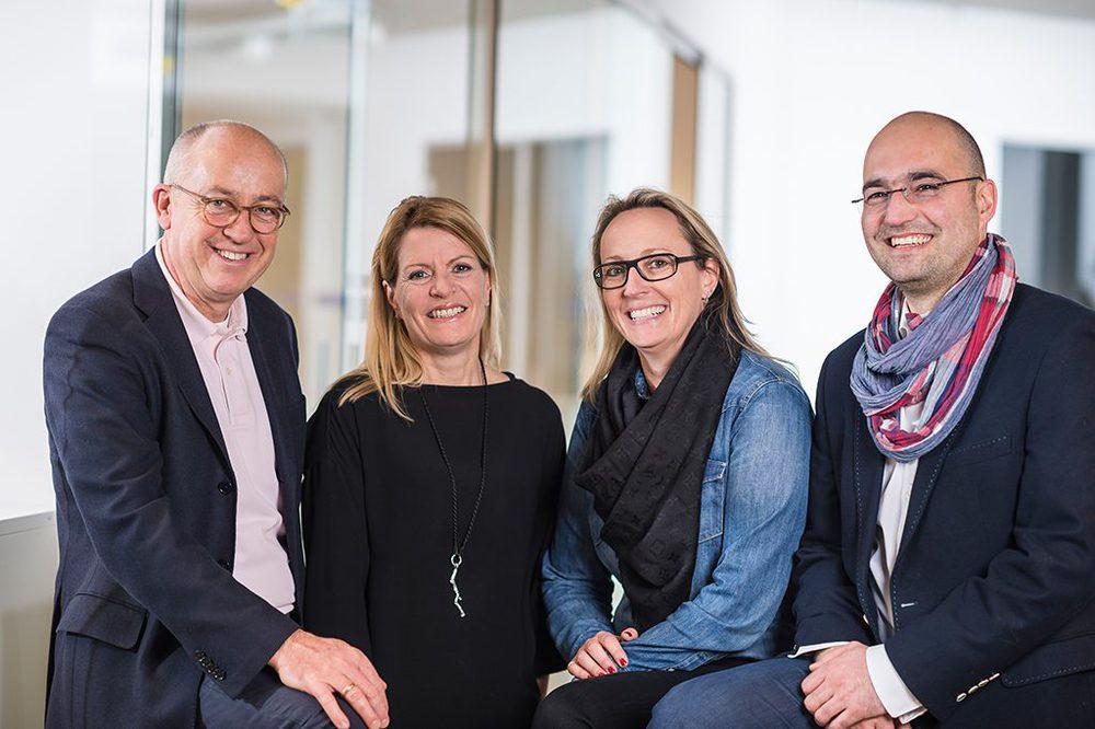 Geschäftsleitung von Follow Red (v.l.): Ulrich Roth (CEO), Petra Schnitzler (CFO), Dr. Andrea Vossen (CCO), Niko Skarlatoudis (COO).