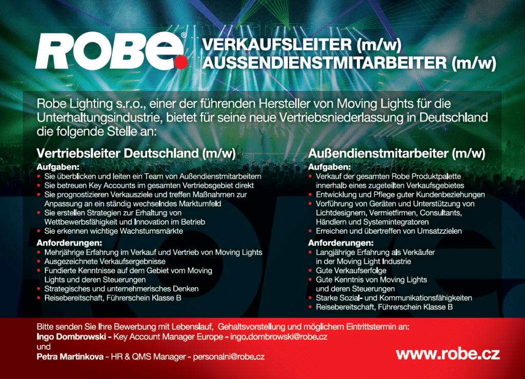 Stellenanzeige von Robe: Verkaufsleiter Außendienstmitarbeiter
