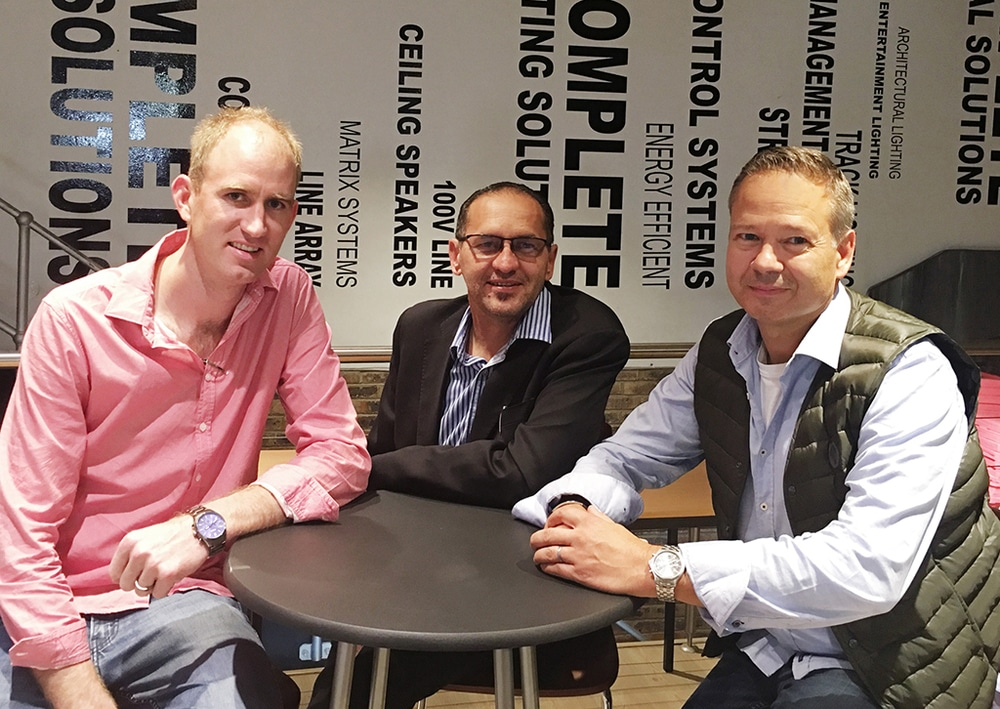 Joppie Maritz, Stage Audio Works Namibia, Will Deysel, CEO Mitech Distribution, Markus Jahnel, COO Adam Hall Group (v.l.n.r.)
