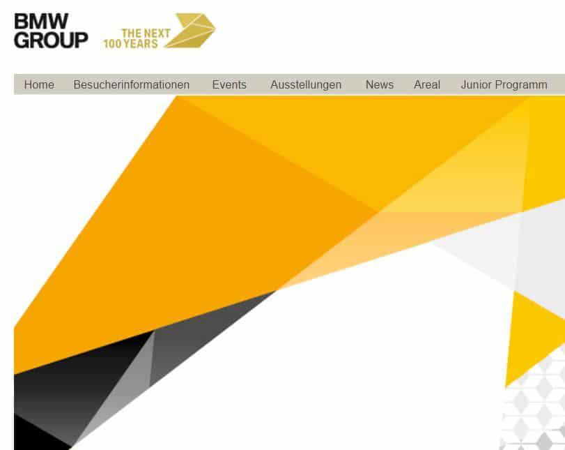 Aktuelle Webseite der BMW Group