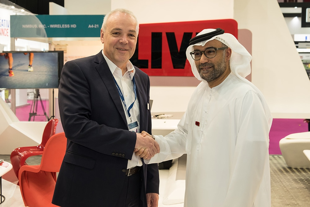 Stefan Breder, CEO Broadcast Solutions; Ali Obaid Bu Ali, LIVE