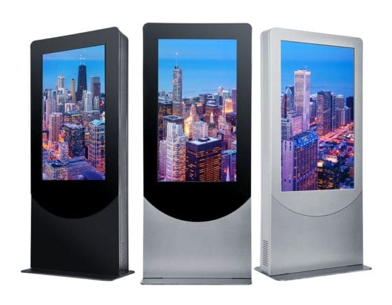 """Experience the elegance of Peerless-AV's new indoor Portrait Kiosk, designed to support the latest LED displays and touchscreen panels up to 4"""" deep. With a flat base that can be free standing or bolted to the ground, the kiosk allows for electric and data cable access, making it easy to install and maintain. Plus, the kiosk includes two whisper-quiet, thermostat-controlled exhaust fans to ensure the display and internal components are kept at an optimal temperature. To maintain a clean aesthetic, the kiosk offers an internal tray for media players and cables, as well as lift off, bi-level rear doors that provide direct access to parts requiring maintenance. For theft protection, the kiosk features keyed-alike cam locks specific to the kiosk. From entertaining to wayfinding, the new kiosk is an ideal solution for various indoor application settings, including corporate, retail, and hospitality."""