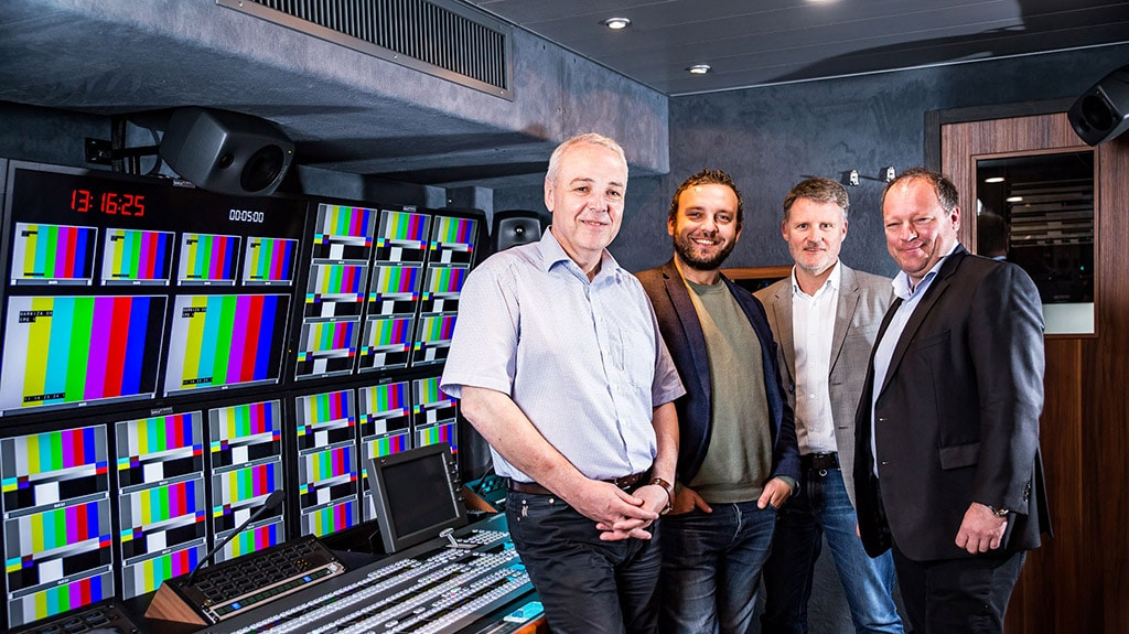 V.l.n.r.: Stefan Breder (CEO Broadcast Solutions), Zdenko Rysavy (Technical Director TV Markiza), Rainer Kampe (CTO Broadcast Solutions), Matthias Settele (General Director TV Markiza)