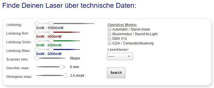Finde deinen Laser nach technischen Daten