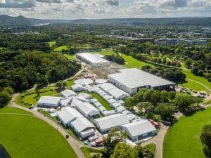 """Drohnenflug über die temporäre """"Bonn Zone"""" in der Bonner Rheinaue - Weltklimagipfel 2017"""