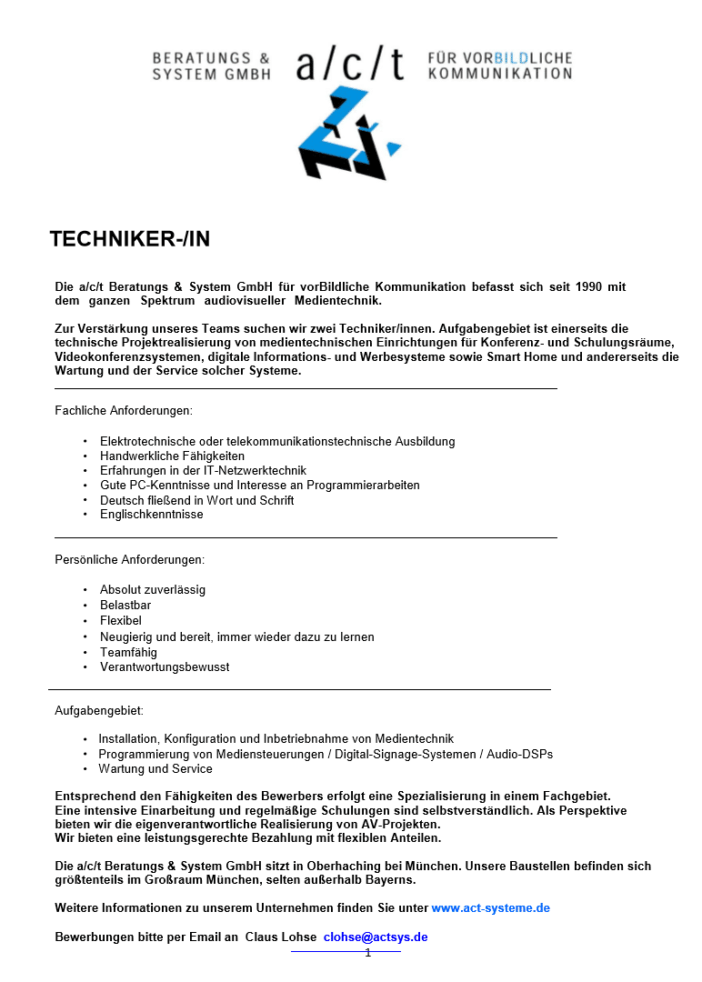 Stellenanzeige act Beratungs & Service Gesellschaft