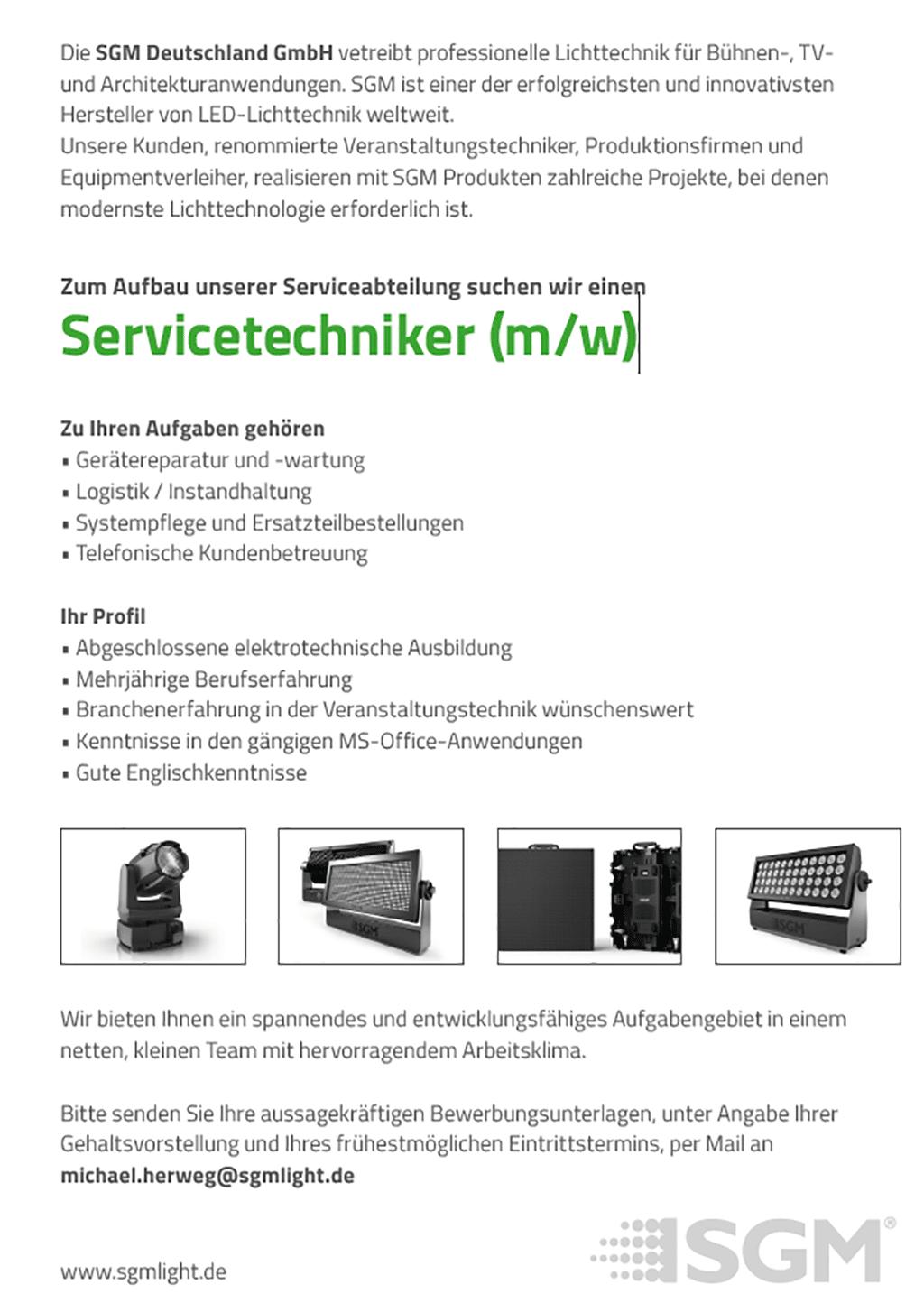 Stellenanzeige SGM Servicetechniker