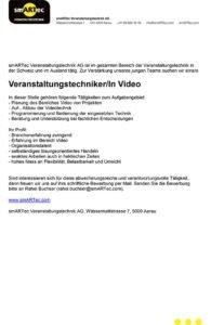 Stellenanzeige Veranstaltungstechniker Video