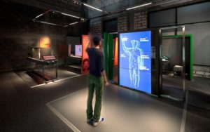 "Body Scanner in der Ausstellung ""Connecting Elements – The Nobel Prize in Chemistry"""