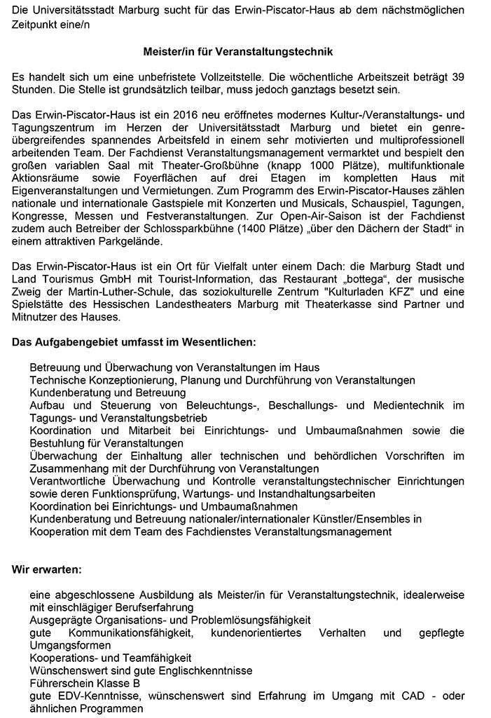 Stellenausschreibung Marburg