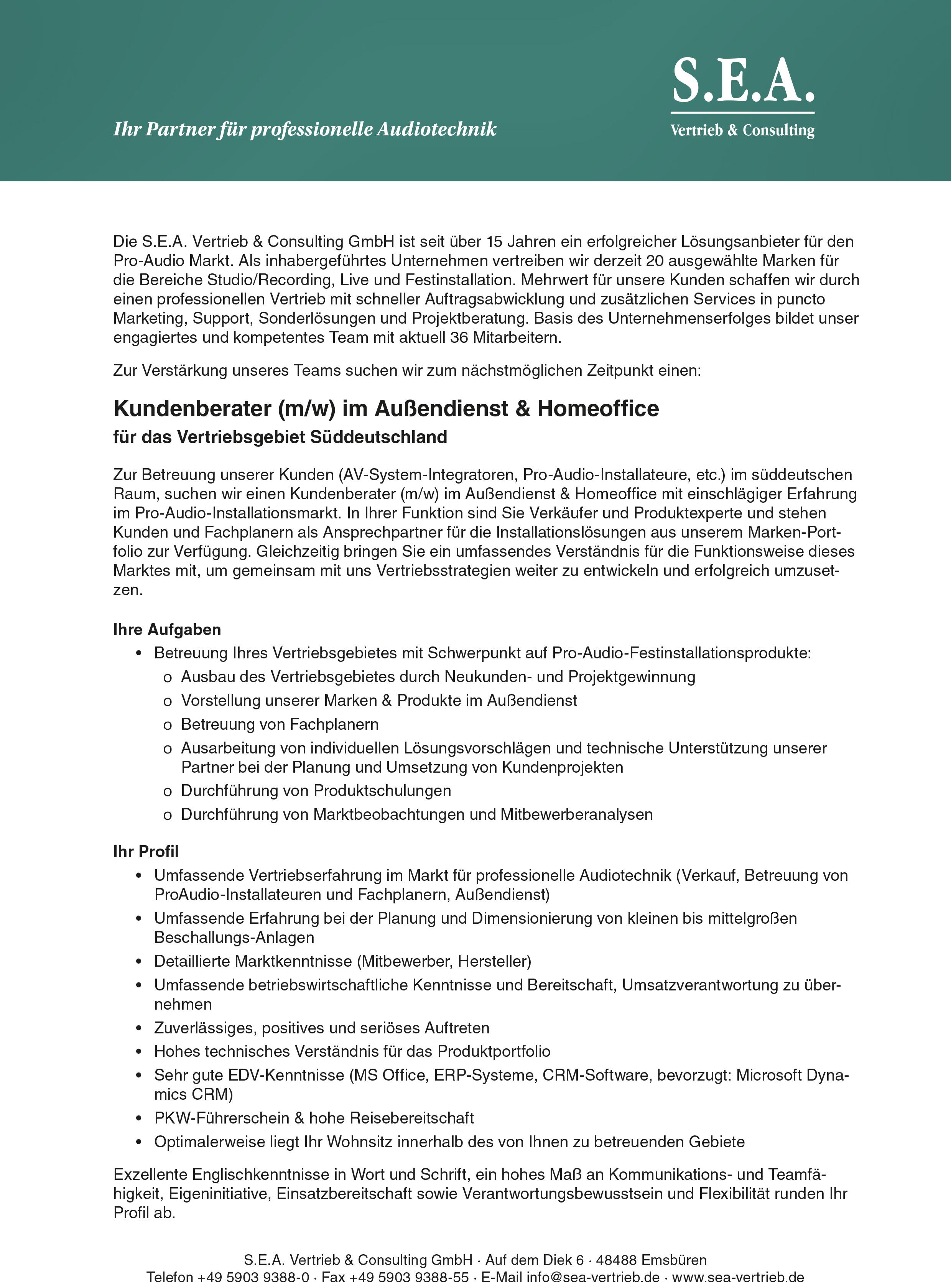 Stellenanzeige von SEA: Kundenberater in Süddeutschland