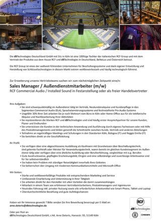 Stellenanzeige Salesmanager RCF