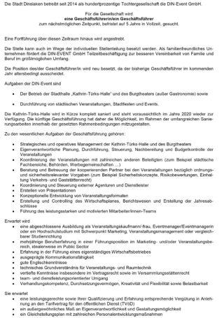 Stellenausschreibung: Geschäftsführung Event GmbH