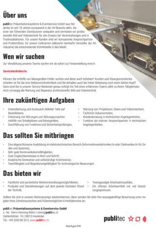 Stellenanzeige der Firma publitec aus Herdecke; Servicetechniker/in