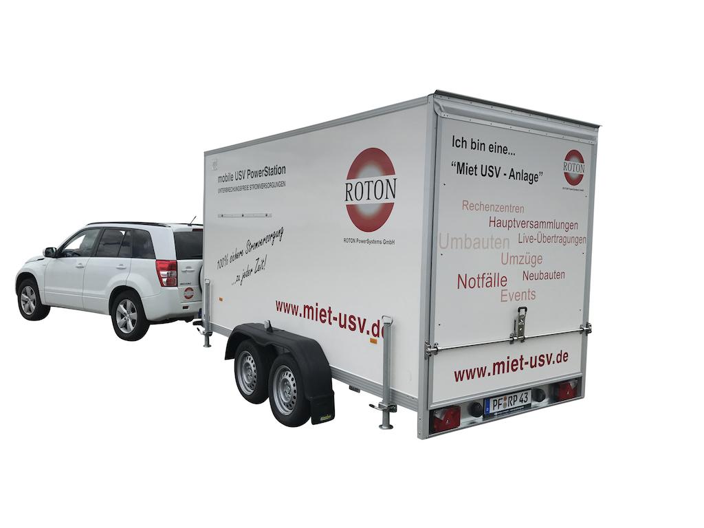ROTON mobile USV PowerStation Miet USV Anhänger 20 bis 80 kVA