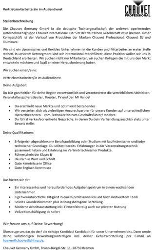 Stellenbeschreibung der Firma Chauvet für den Vertrieb im Außendienst