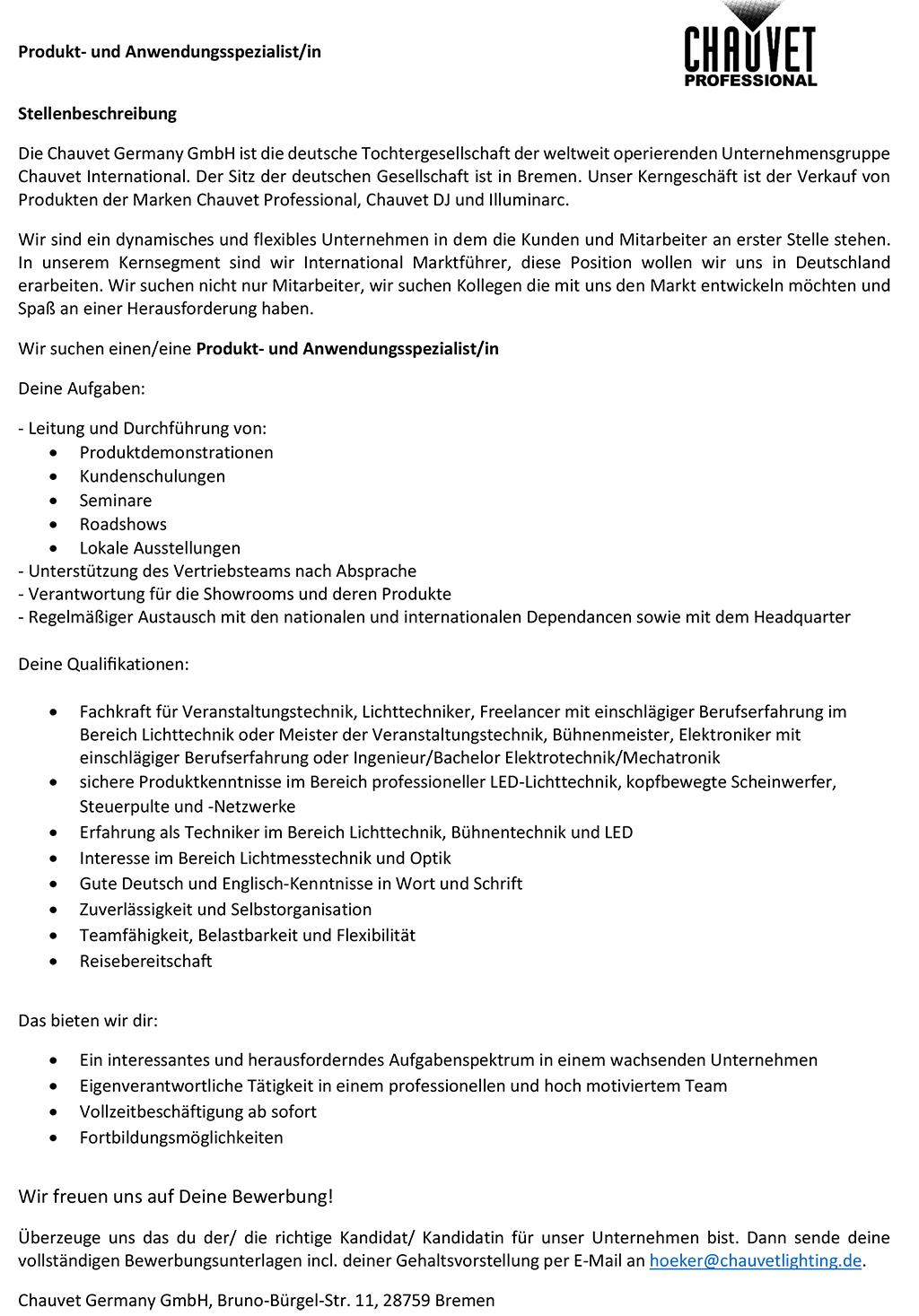 Stellenbeschreibung der Firma Chauvet für die Position eines Produktspezialisten/einer Produktspezialistin