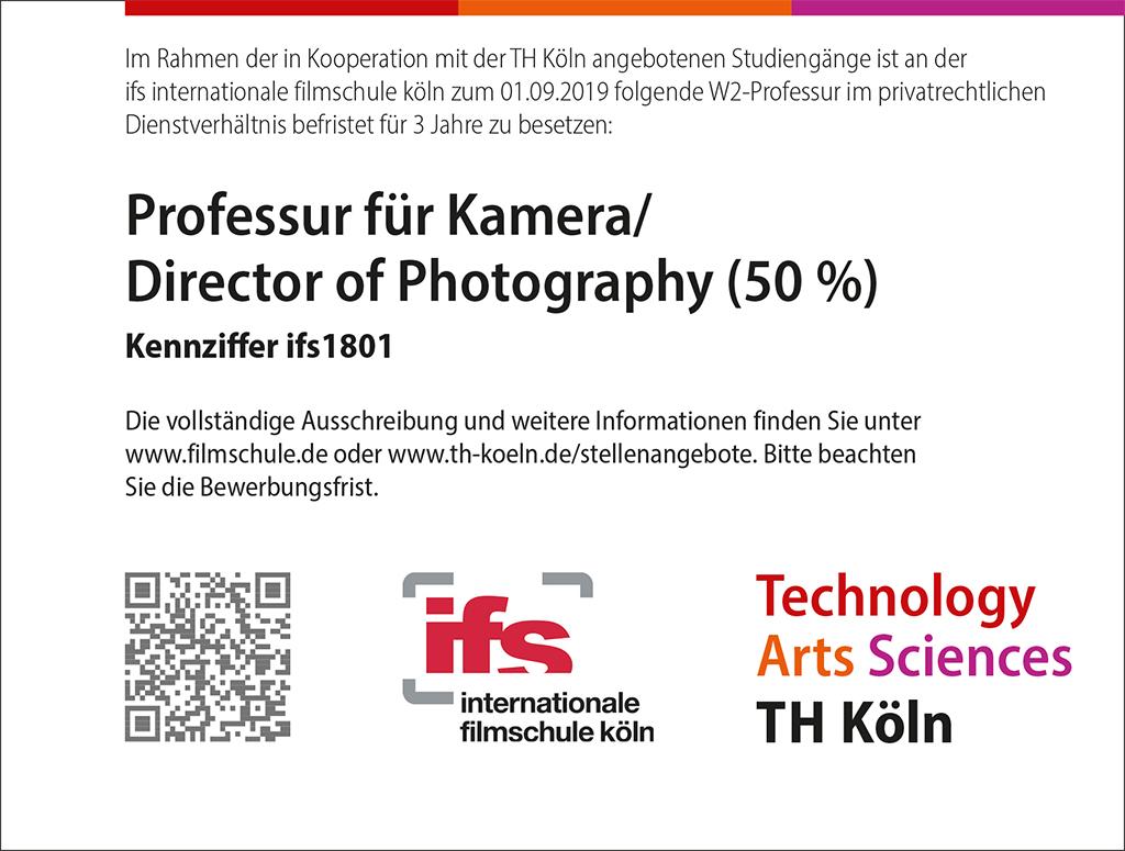 Stellenausschreibung der TH Köln: Professur für Kamera