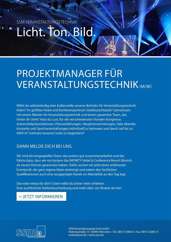 Stellenausschreibung Projektmanager für Veranstaltungstechnik_SSM