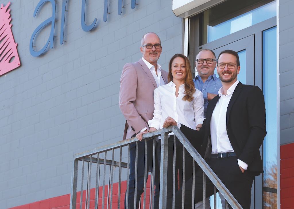 Geschäftsführungsteam der Artlife GmbH: Stephan Haida, Jennifer Hofmann, Andreas Bedel, Thomas Barber (von links)