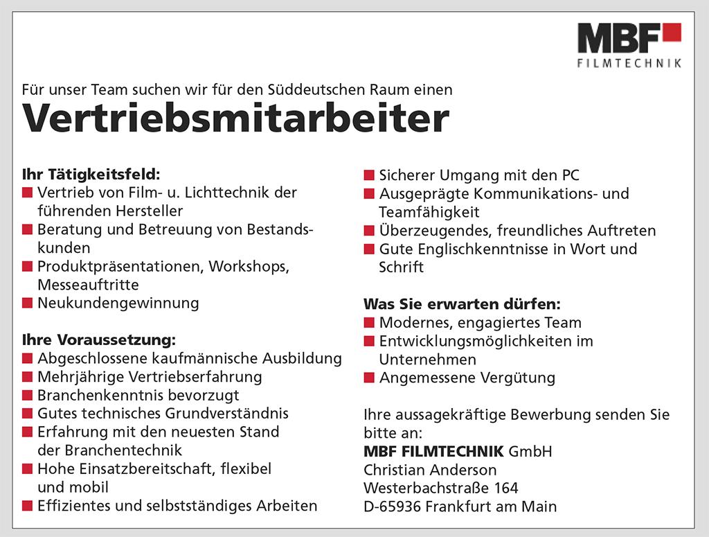 Stellenanzeige: MBF Filmtechnik sucht Vertriebsmitarbeiter für Süddeutschland