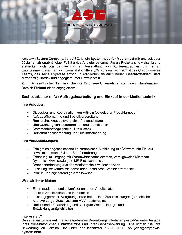 Stellenanzeige Amptown: Sachbearbeiter Auftragsbearbeitung und Beschaffung