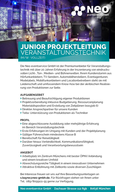 Stellenanzeige Neo: Junior Projektleitung Veranstaltungstechnik
