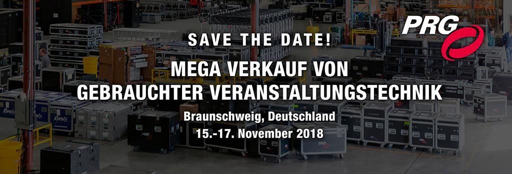 Banner zum Gebrauchtverkauf von PRG vom 15. bis 17. November 2018 in Braunschweig