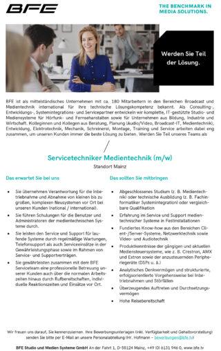 Stellenanzeige BFE: Servicetechniker Medientechnik