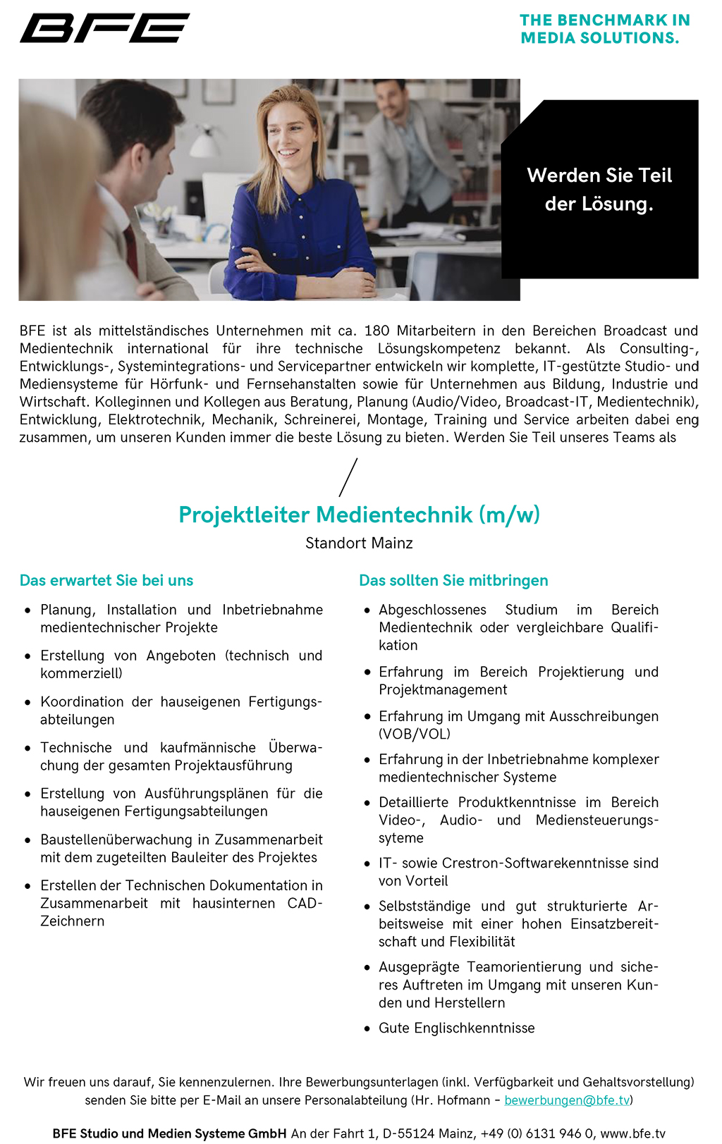 BFE Stellenanzeige: Projektleiter Medientechnik