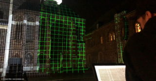 Ausrichtung des Projection Mappings auf den Aachener Dom
