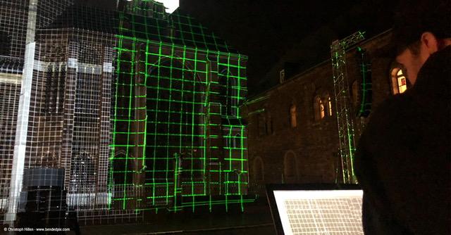 Ausrichtung des Projection Mappings auf den Aachener Dom