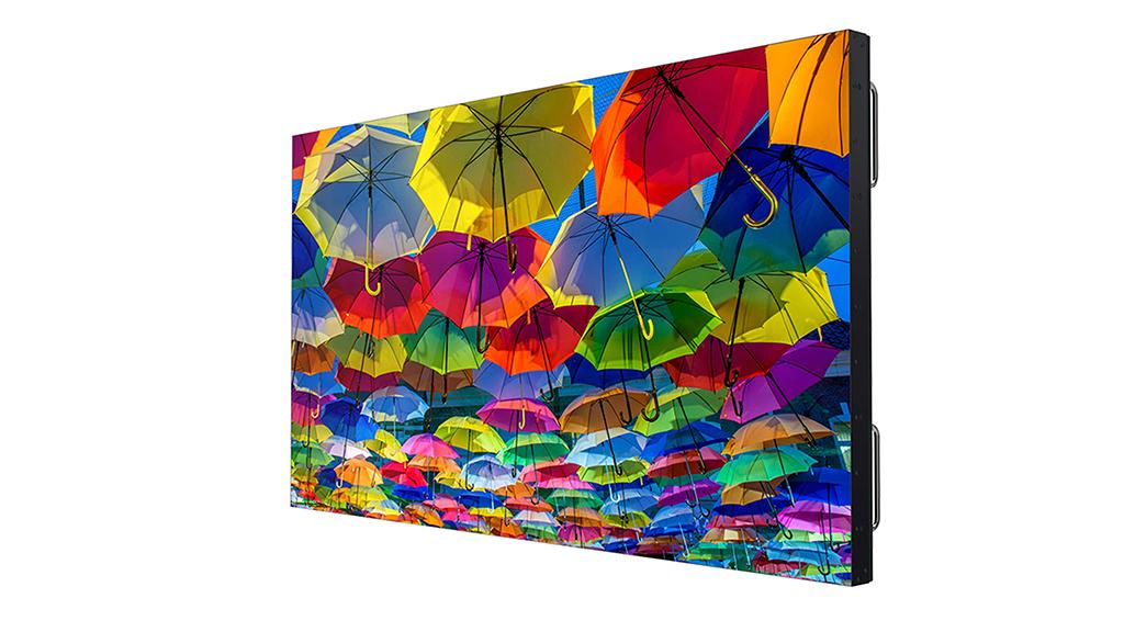 Neues LCD-Display von Christie mit bunten Regenschirmen auf dem Screen