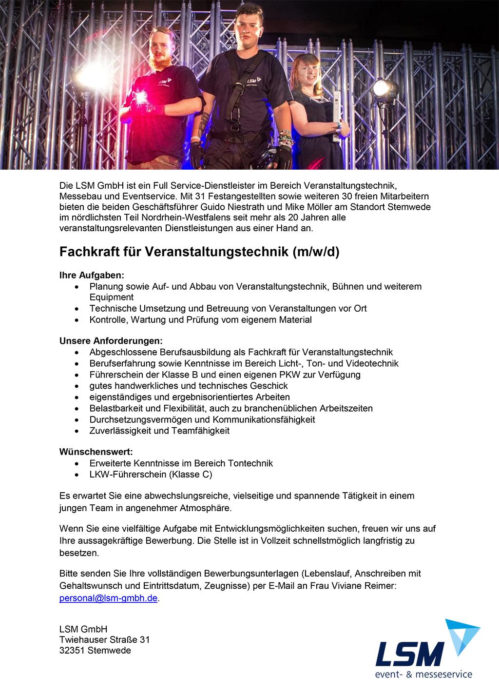 Stellenausschreibung LSM GmbH
