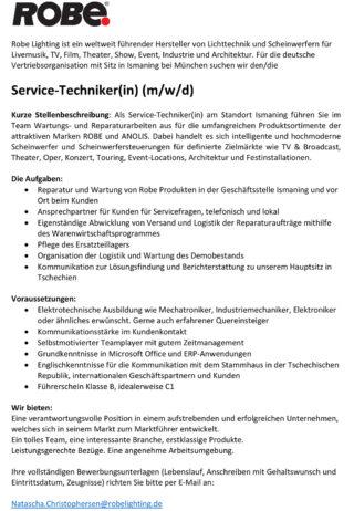 Stellenanzeige Techniker Robe Deutschland