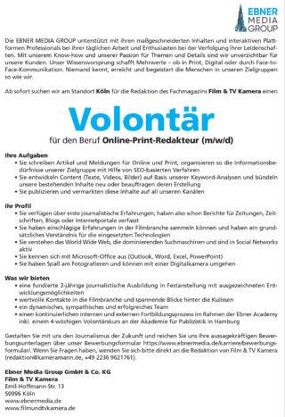 Fachmagazin Film und TV Kamera sucht Volontär